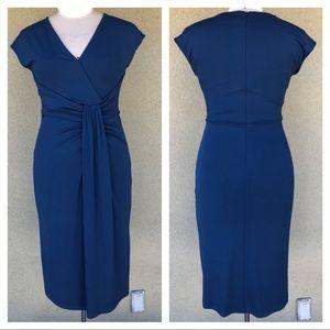Michael Kors Collection blue draped midi dress